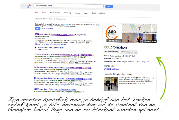 Bovenaan in Google met Google+ Local Page